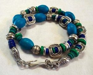 Aegean and Pewter Fish Wrap Bracelet